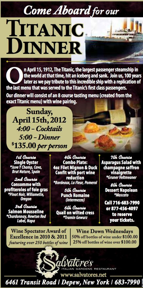 Titanic Dinner At Salvatore S Buffalo Dandy